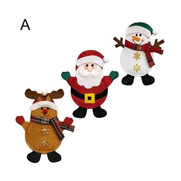 Hopeas 6pcs Portaposate Natalizie,Decorazione per Tavolo di Natale Babbo Pupazzo di Neve alci Natale Tasche Posate 3 spesavip