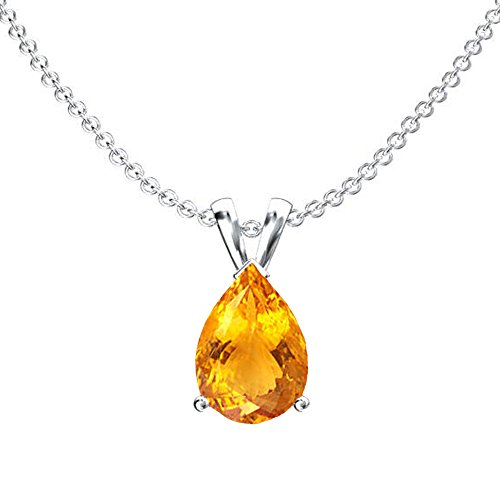 14K White Gold 9x7 mm Pear Cut Citrine Ladies Solitaire Pendant (Silver Chain (Pear Citrine Pendant)