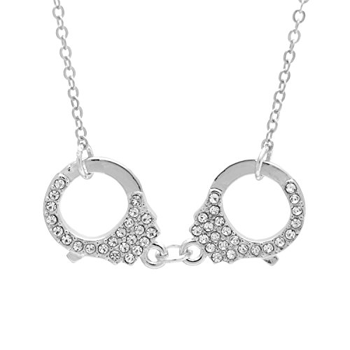 SpinningDaisy Silver Crystal Handcuff Necklace