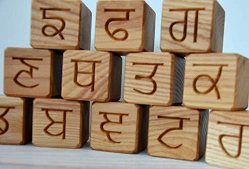 Amazon Com 35 Punjabi Alphabet Wood Blocks Abc Wood Block