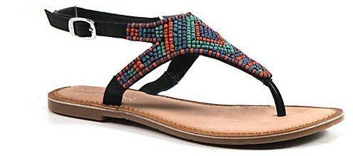 Diba Red Row Leather Beaded Sandal (9.5, ()