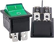 Twidec/2Pcs AC 20A/125V 15A/250V DPST 4 Pins 2 Position ON/Off Green LED Light Illuminated Boat Rocker Switch