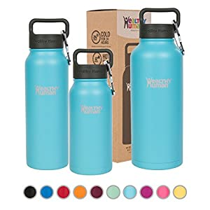 Healthy Human Double Walled Insulated Stainless Steel Water Bottle Thermos with Carabiner - Glacier - 32 oz