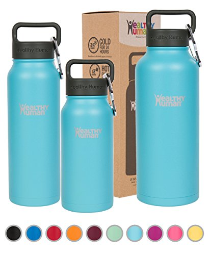 Healthy Human Double Walled Insulated Stainless Steel Water Bottle Thermos with Carabiner - Glacier - 32 (Carabiner Bottle)