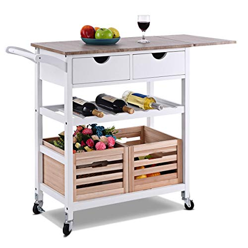 WATERJOY Rolling Kitchen Cart, Home Kitchen Wooden Storage Trolley Cart w/Wine Shelf Storage Drawers, 2 Wooden Storage Baskets (White)