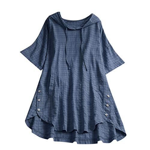 Aniywn Women's Vintage Button Down Short Sleeve Hoodie Tops Loose Plus Size Pocket Plaid T-Shirt Blue