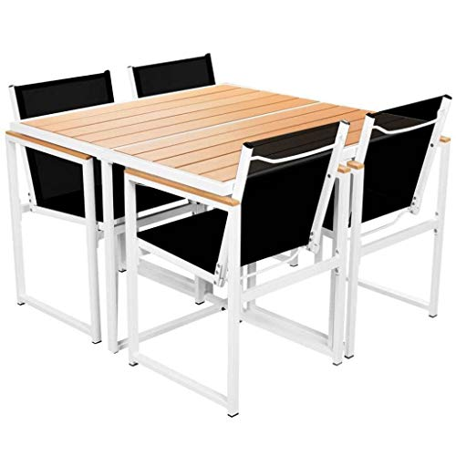 Clever Market Outdoor Dining Set Elegant Durable Aluminium Frame WPC Table Comfort Classic Patio Chairs Family Garden Furniture 5 Pieces (Chair Dining Garden Classics Room)