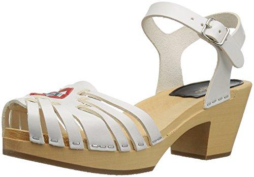 Swedish Hasbeens Huarache, Women's Heels Sandals White