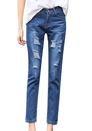 ZhuiKunA Mujeres Desgarro Suelto Pantalones De Mezclilla Tamaño Grande Simple Vaqueros Azul Marino 1