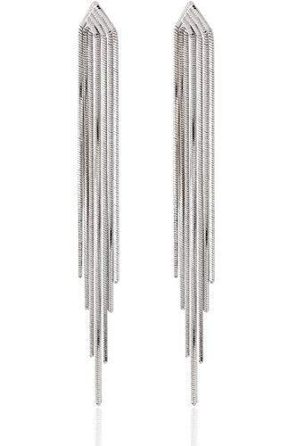 Lovey Lovey Long Drop Sleek Chain Tassel Earrings by (Silver)