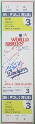 "Los Angeles Dodgers Steve Yeager Autographed Hand Signed 1981 World Series Game 3 Mini Mega Ticket with""81 WS MVP"" Inscription and Proof Photo of Signing, COA LA Dodgers WS Collectibles"