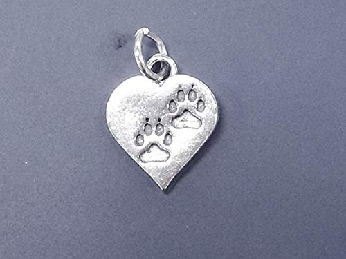 (Heart Double Paw Print Pet Lovers Sterling Silver Charm Pendant, Bear, Dog, Cat Charm, School Mascot, College Mascot, Sports Mascot - SP672 (Lobster Claw Clasp))