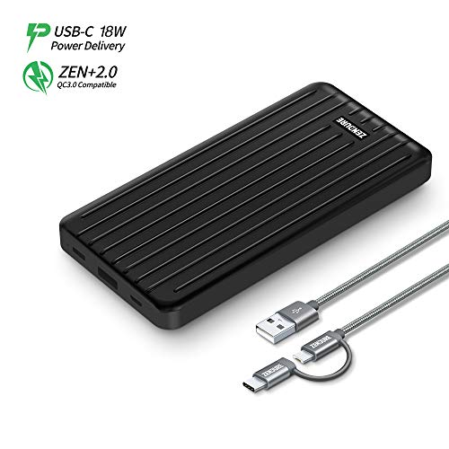 Zendure Ultra-Slim 10000mAh Portable Charger, (Durable) (PD & QC 3.0) USB-C Power Bank with Dual USB Output (3A), Fast Charge External Battery Pack Compatible with iPhone, Nintendo Switch, Samsung and