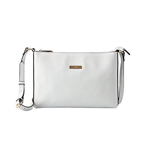 SEPT MIRACLE Lightweight Medium Women Crossbody Bag PU Leather Shoulder Bag Tote Bag Ladies Girls Purse(white)