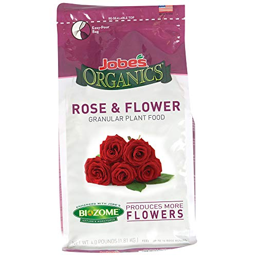 Jobe's 09423  Organics Flower & Rose Granular Fertilizer with Biozome, 4 pound bag (Best Feed For Roses)