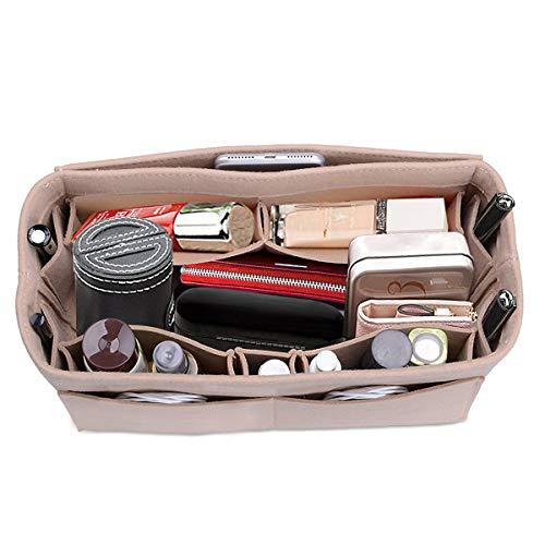 Felt Fabric Handbag Organizer Bag - Purse Organizer Insert Multi Pocket Insert In Bag fits Speedy 30, Longchamps Tote Bag, Beige