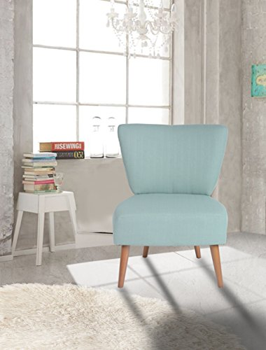 Blue Fabric Accent Chair Lounge Living Bedroom Room with Wood legs