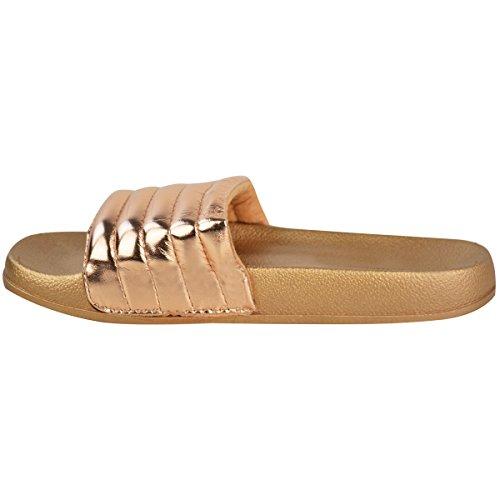 Moda Sedienta Para Mujer Cómoda Y Brillante De Caucho Acolchado Piscina Deslizadores Pisos Zapatos Deslizador Tamaño Oro Rosa Metálico