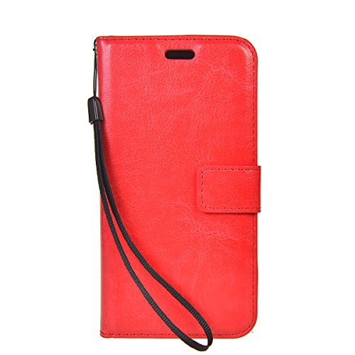 Galaxy J5 Prime Funda,COOLKE Retro PU Leather Wallet With Card Pouch Stand de protección Funda Carcasa Cuero Tapa Case Cover para Samsung Galaxy J5 Prime SM-G570F/DD - Negro Rojo