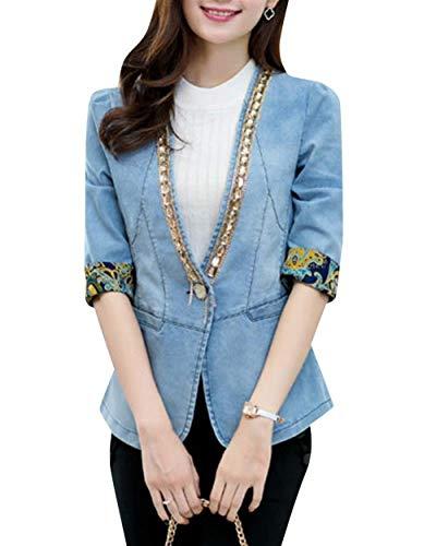 3 Fashion Tempo neck Manica Estivi Outerwear Primaverile Elegante Distressed Cappotto V Anaisy Giacca Jeans 4 Giovane Hellblau Sottile Libero Donna Women vqP660