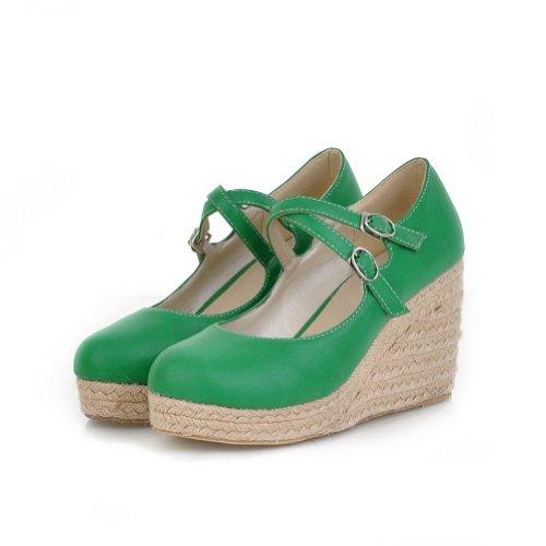 AmoonyFashion Womens Closed Round Toe High Heel Wedge Soft Material PU Solid Pumps Green yDIaC5o