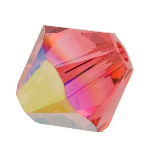 Padparadscha Swarovski Crystal Bicone Beads - Swarovski Crystal, #5328 Bicone Beads 4mm, 24 Pieces, Padparadscha AB