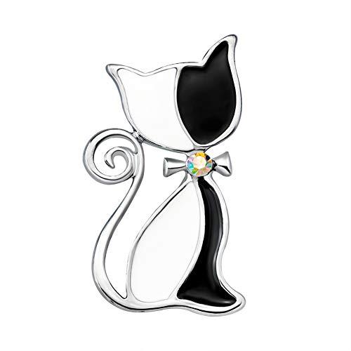 ink2055 Vintage Cat Rhinestone Bowknot Oil Drop Brooch Pin Badge Women Ladies Brooches Jewelry Decor Gift - Black