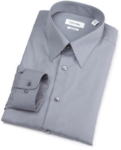 Calvin Klein Mens Silky Poplin Dress Shirt  Dove  15 5  34 35