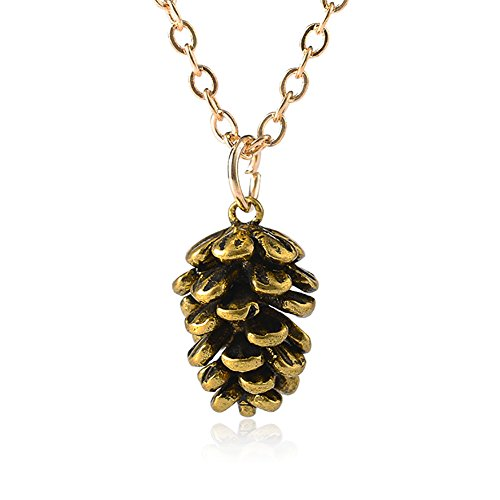 - Necklace Opeof Vintage Women Cute Pine Cone Shape Pendant Thin Chain Necklace Jewelry Gift - Antique Brass