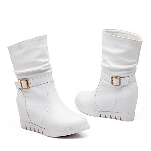 Pull Round heighten Blend Inside Boots Closed White Top Women's Toe On Materials Mid AgooLar tx0nqZaw17