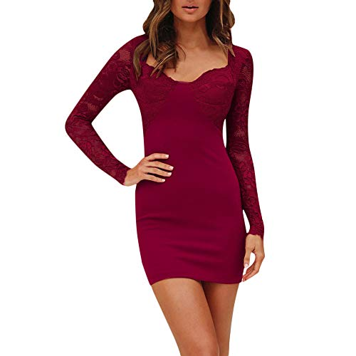 (AMSKY Dress Joggers for Women, Women Sexy Lace Stitching Hollow Out Long-Sleeve Zipper Mini Dress,Socks &)