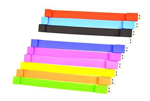 1GB USB Flash Drive Bulk 10 Pack - FEBNISCTE Wrist Bracelet Pen Drives Multi-Coloured USB 2.0 Memory Sticks