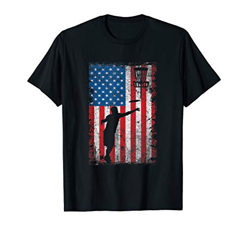 (Independence Day American Flag Disc Golf Player T-Shirt)