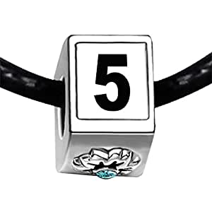 Chicforest Silver Plated Black Number 5 Photo Blue Aquamarine Crystal March Birthstone Flower Charm Beads Fits Pandora Bracelet