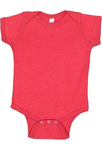 Rabbit Skins Infant 60/40 Cotton/Polyester Vintage Heathered Jersey Short Sleeve Bodysuit (Vintage Red, 6 Months) ()
