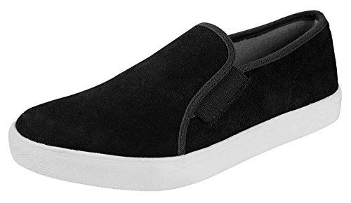 - Urban Fox Men's Francis Slip-On Fashion Sneakers | Slip On Shoes Men | Mens Sneakers | Suede Shoes | Black 9