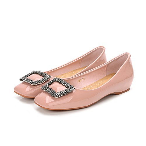 T-JULY Womens Fashion Casual Flat Shoes Shiny Comfort Anti-Slip Driving Penny Loafers Shoes Pink