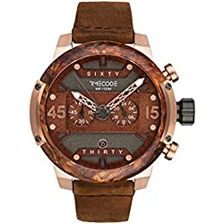 Timecode Hubble 1990 TC-1014-03 46mm Men's Watch BROWN dial BROWN Leather Date Chronograph