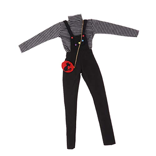 Prettyia BJD Handmade Doll Striped Long Sleeve Top Suspender Trouser and Shoulder Bag for 1/3 BJD Girl Dolls Clothes Accessories (Doll Bjd Clothes)