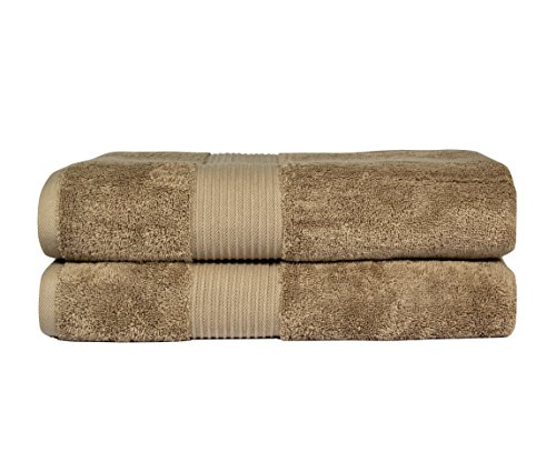 Bliss Luxury Combed Cotton Bath Towel - 34 x 56 Extra Large Premium Quality Bath Sheet - 650 GSM - Soft, Absorbent (Mocha, 2 Pack)