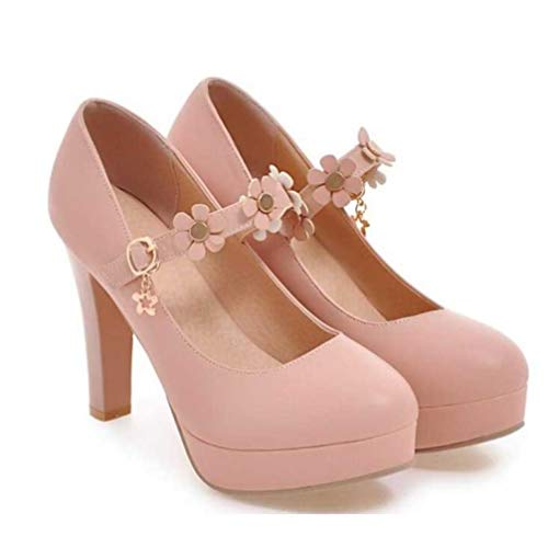 (GanQuan2018 Woman Platform Pumps Summer Non Slip High Heels Ankle Buckle Party Wedding Shallow Ladies Mary Jane Shoes)