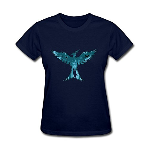 (ZhiBo Creative Hunter in the Forest Bird Designed for The Hunger Games for Mockingjay T-shirt for Women Royal Blue)