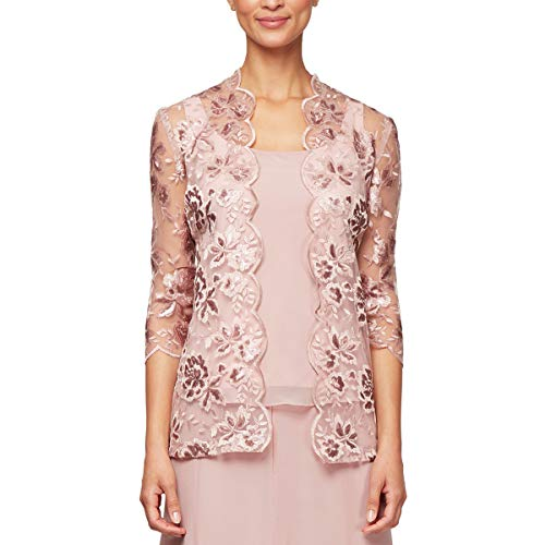 Alex Evenings Women's Petite Printed Twinset with Tank Top and Jacket, Blush, LP ()