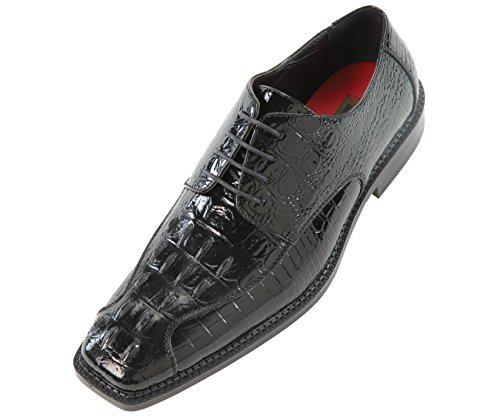Bolano Mens Black 3D Crocodile Printed Oxford Dress Shoe : Style Darby Black-000