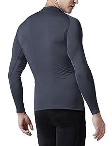 CLSL TM-R34-DG_Medium J-RAL Tesla Men's Thermal Fleece Coldgear Compression Baselayer Long Sleeve T Shirts R34