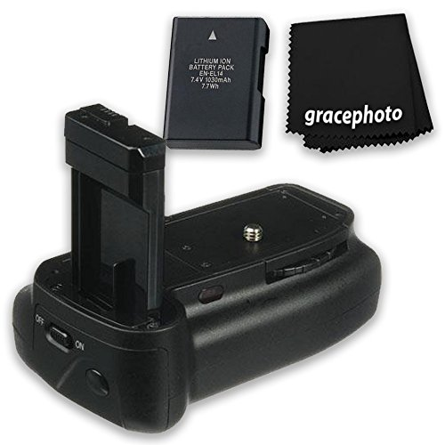 Super Pro series Multi-Power Battery Grip For Nikon D3100/D3200/D3300 + Grace Photo Cleaning Cloth + Extra Battery by Grace Photo