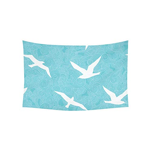 (KUneh Tapestry Seagull Flying Bird Cute White Cartoon Animated Art Tapestries Wall Hanging Flower Psychedelic Tapestry Wall Hanging Indian Dorm Decor for Living Room Bedroom 60 X 40 Inch)