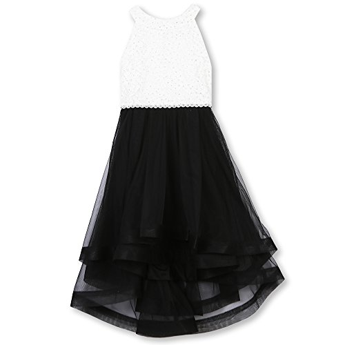 Speechless Girls' 7-16 Tween Sparkle Waist Party Dress with Wide Ribbon Hem, Ivory/Black, 12 -