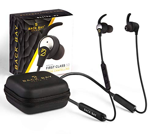 Back Bay™ - First Class 50 - Active Noise Cancelling Bluetooth Earbuds. ANC Wireless Headphones for Airplane Flights with 5 EQ Sound Modes, Microphone, 8-Hour Battery, and Pro Carrying Case