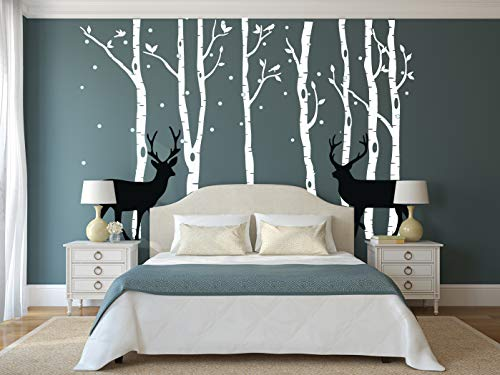 Forest Bedroom - DAEGOD Birch Tree Deer Wall Decal Forest Birch Trees Vinyl Sticker Wall Decal Wall Stickers Kids Bedroom Decor Nursery Bedroom (White+Black)